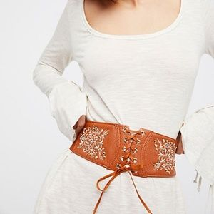 SOLD!Free People Wild West Embroidered Corset Belt